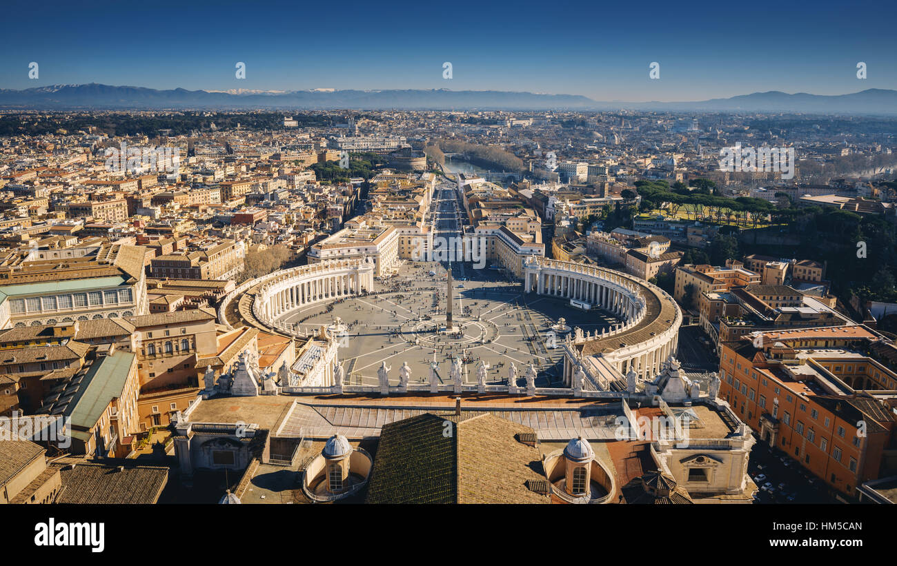 View of Rome from the Dome of St. Peter's Basilica, Italy, Rome, Vatican - Stock Image