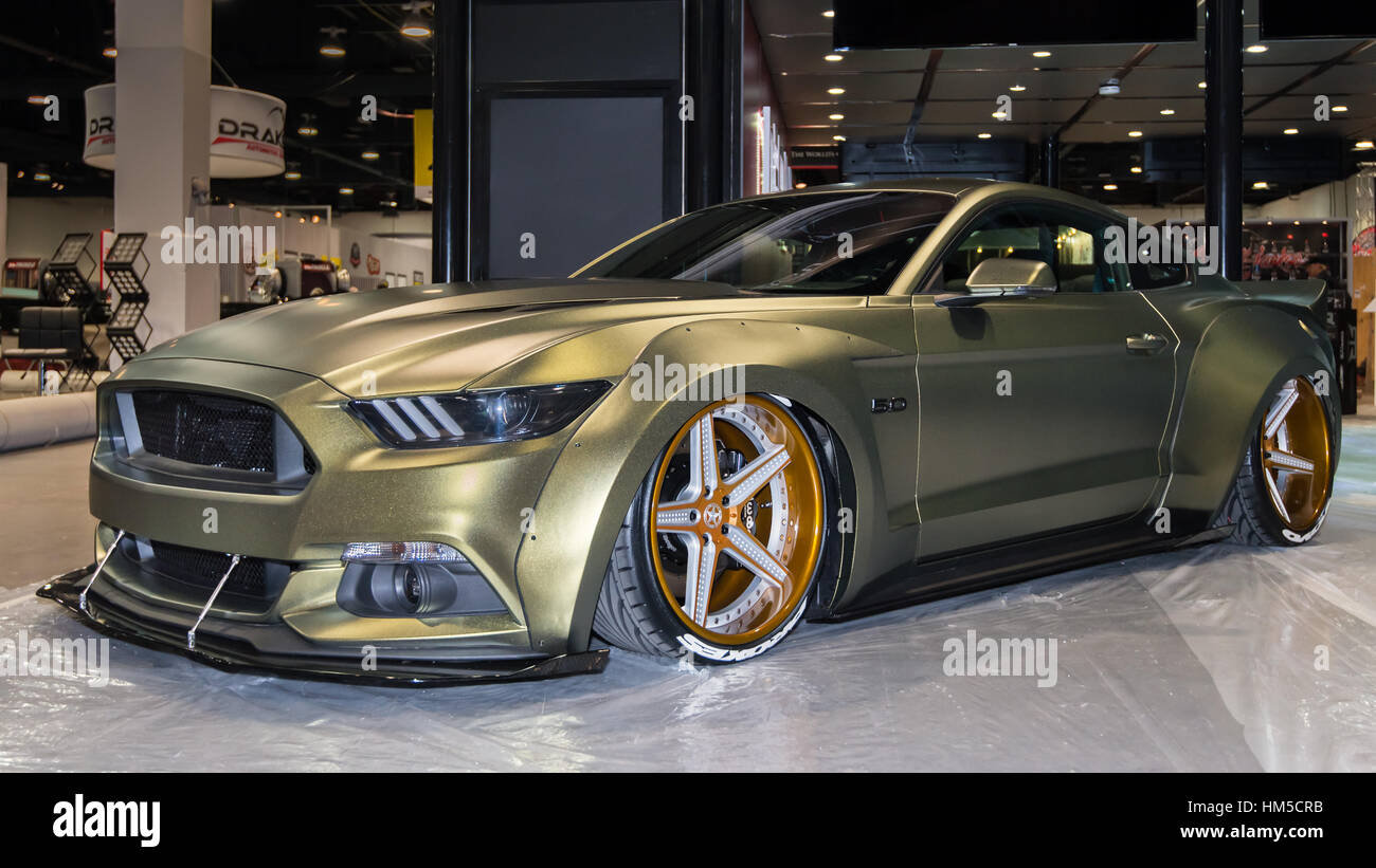 Customized Mustang >> Customized Ford Mustang car at SEMA Stock Photo: 132885519 - Alamy