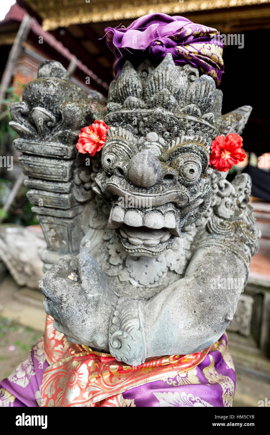 Temple Guardian, frightening statue in front of Ubud Palace, Ubud, Bali, Indonesia - Stock Image