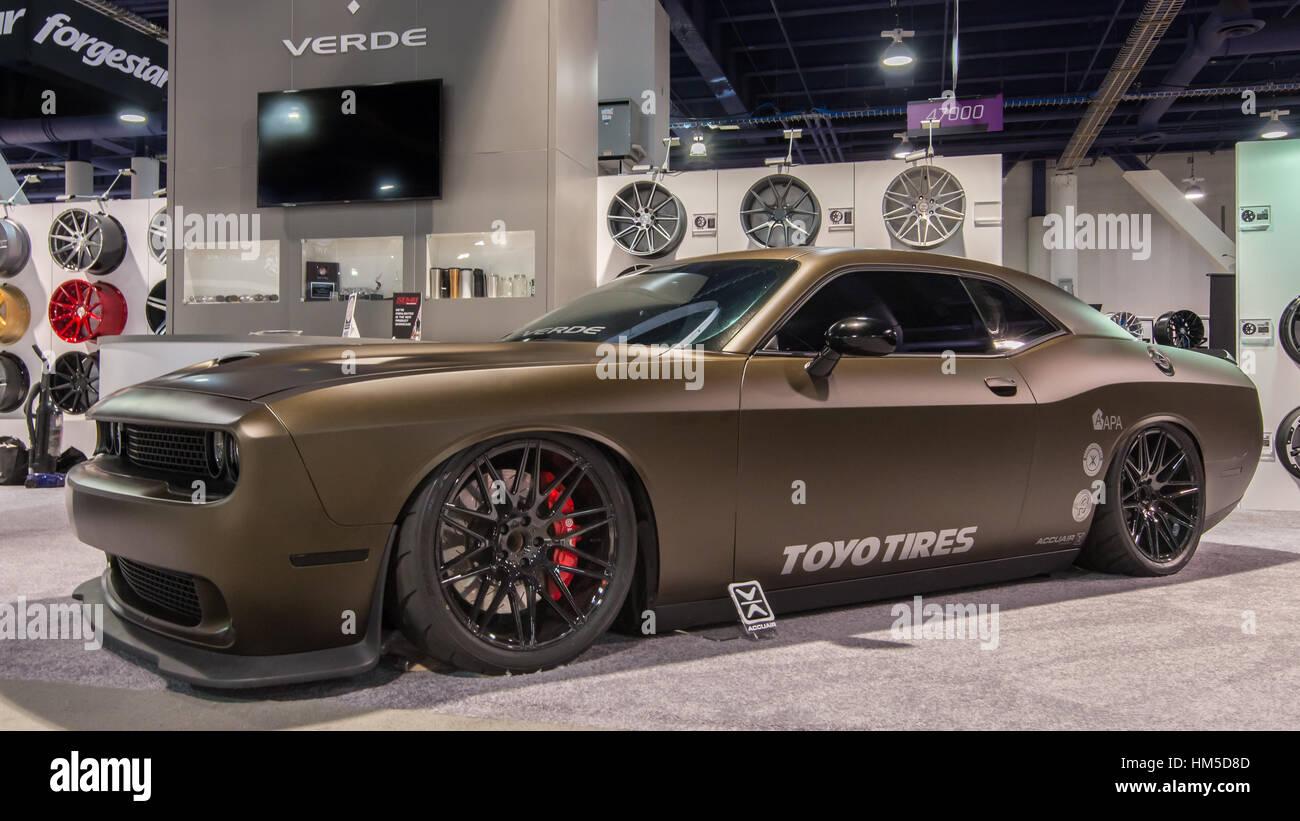 Customized Dodge Challenger Car At Sema Stock Photo Alamy