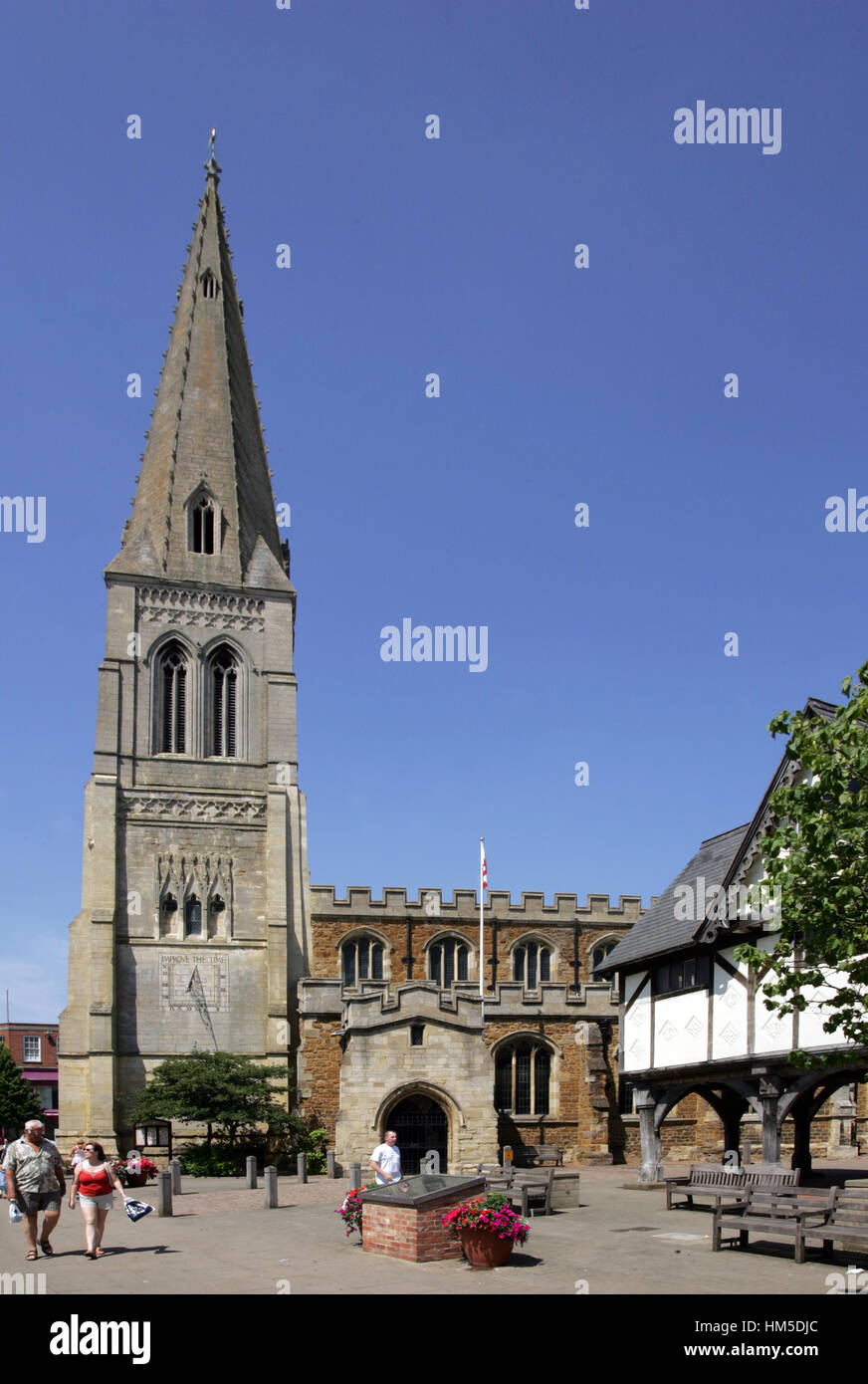 Saint Dionysius church and (R) the Old Grammar School, Market Harborough, Leicestershire - Stock Image