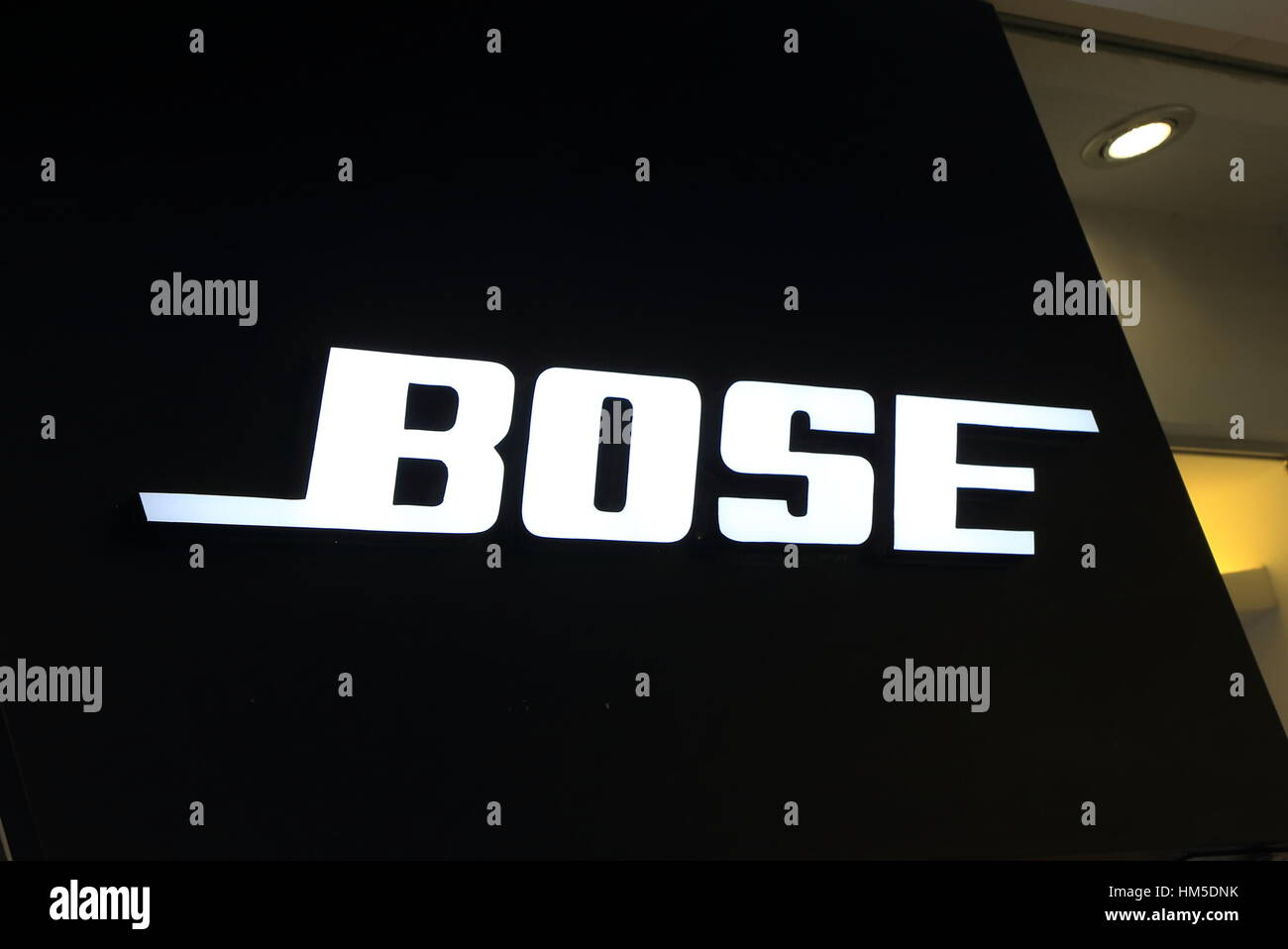 Bose. Bose is an American privately held corporation based in Massachusetts designing and imports audio equipment. - Stock Image
