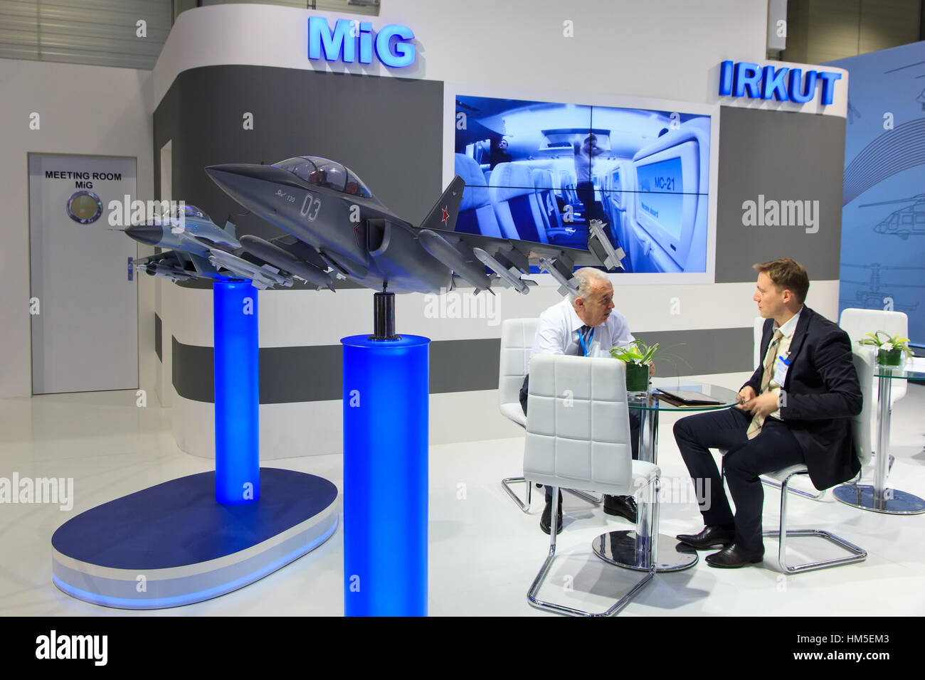 BERLIN, GERMANY - MAY 21: Russian aircraft manufacturers MiG and Irkut stand at the International Aerospace Exhibition - Stock Image