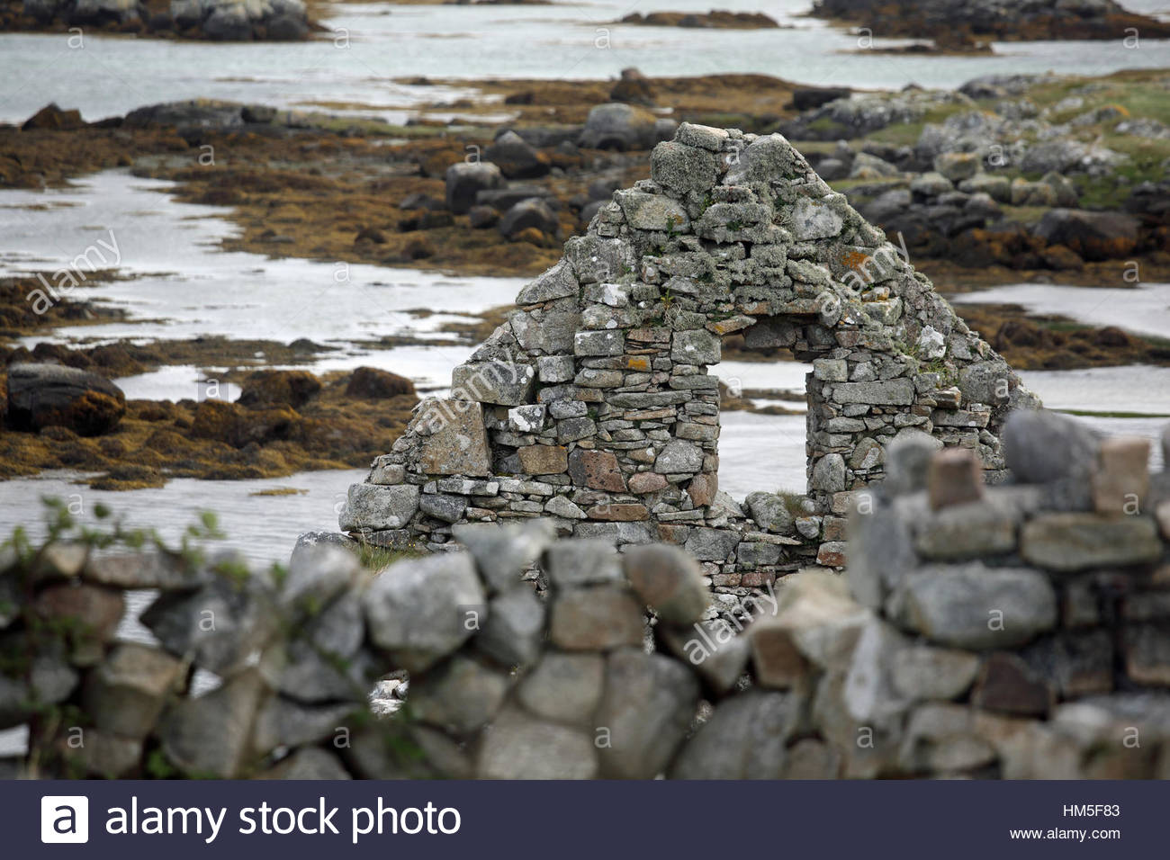 Irish house in ruins made of stone and stone walls by the sea in Galway, Ireland - Stock Image