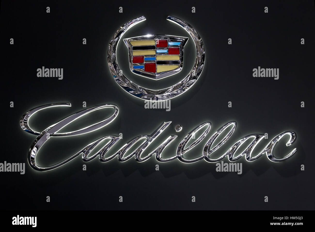 FRANKFURT, GERMANY - SEP 13: Cadillac symbol at the IAA motor show on Sep 13, 2013 in Frankfurt. More than 1.000 - Stock Image
