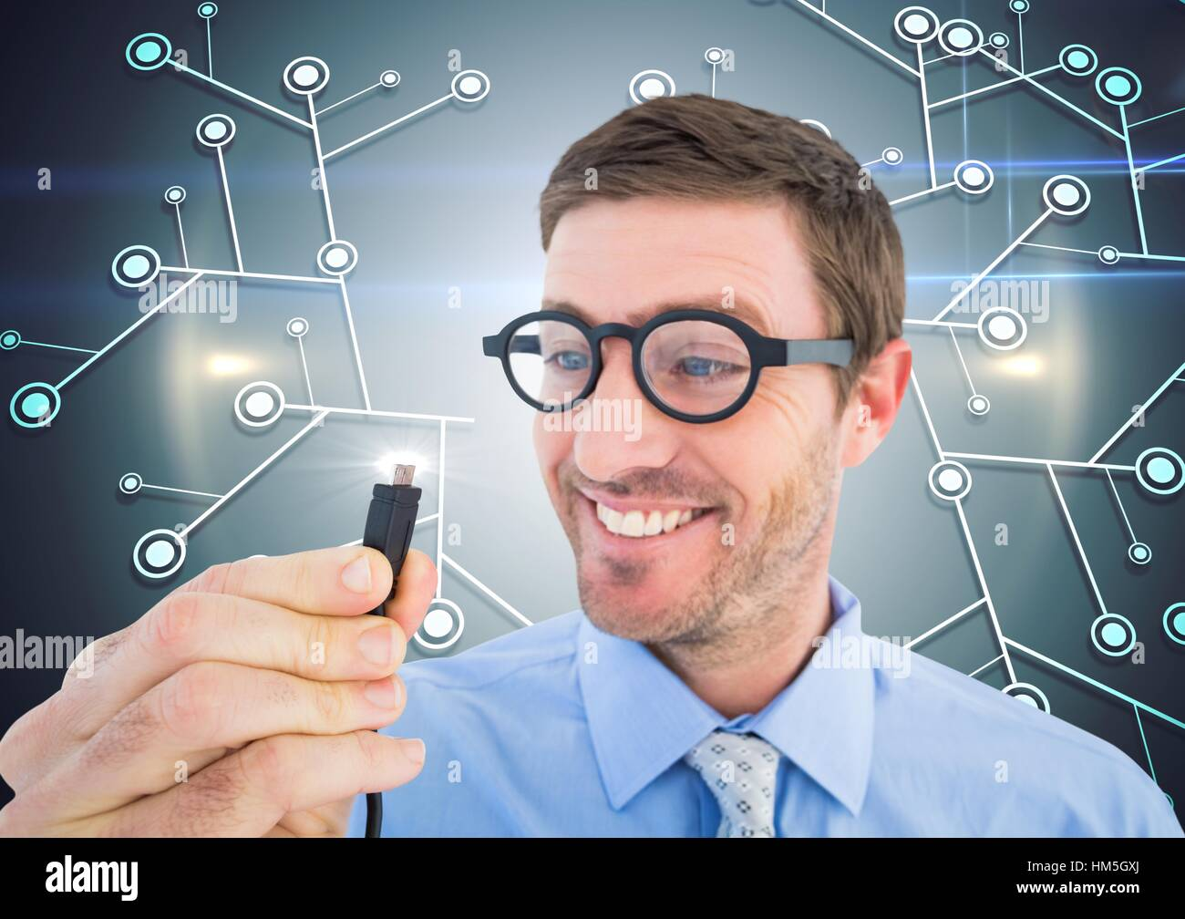Nerd man holding cable with flare - Stock Image