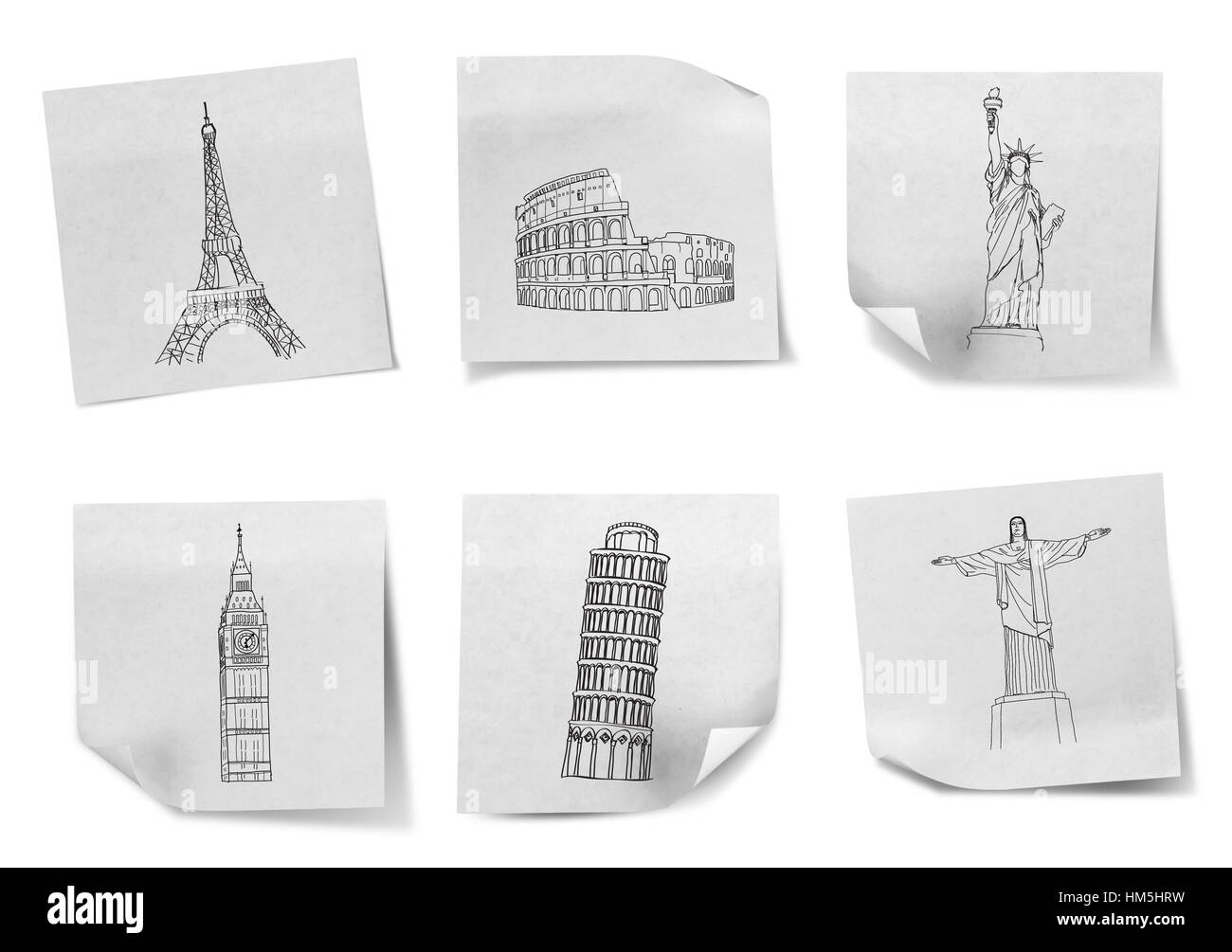 Drawing travel around the world on white note papers  (France,Italy ,New York,london,brazil) - Stock Image