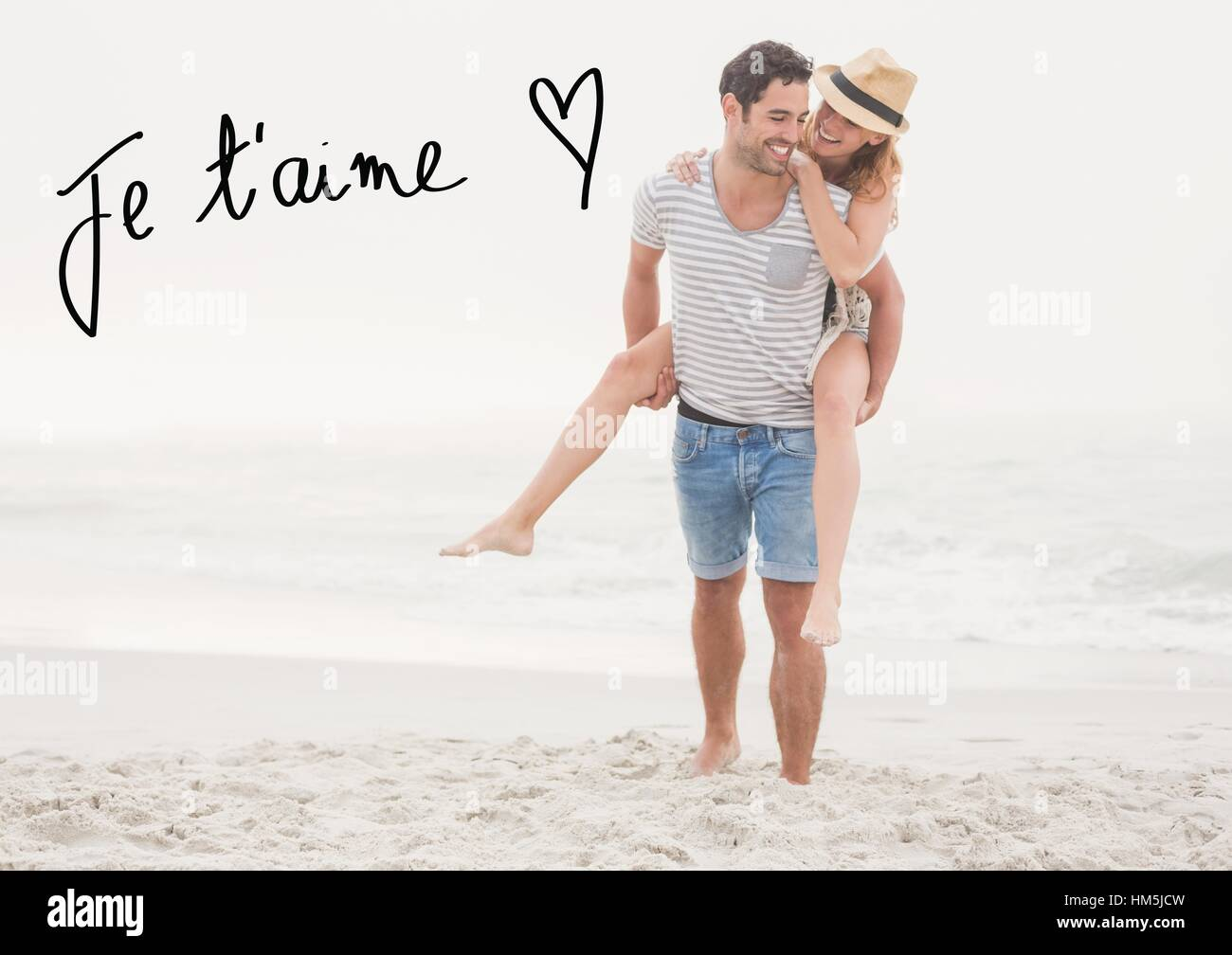 Digital composite image of man giving piggy back to woman at beach - Stock Image