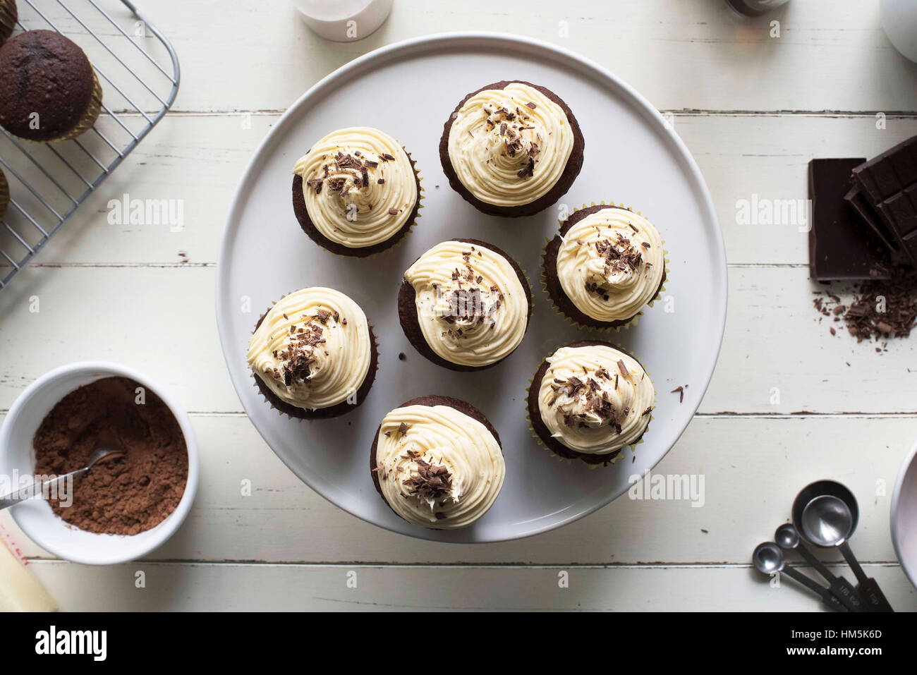 Overhead view of cupcakes on cakestand - Stock Image