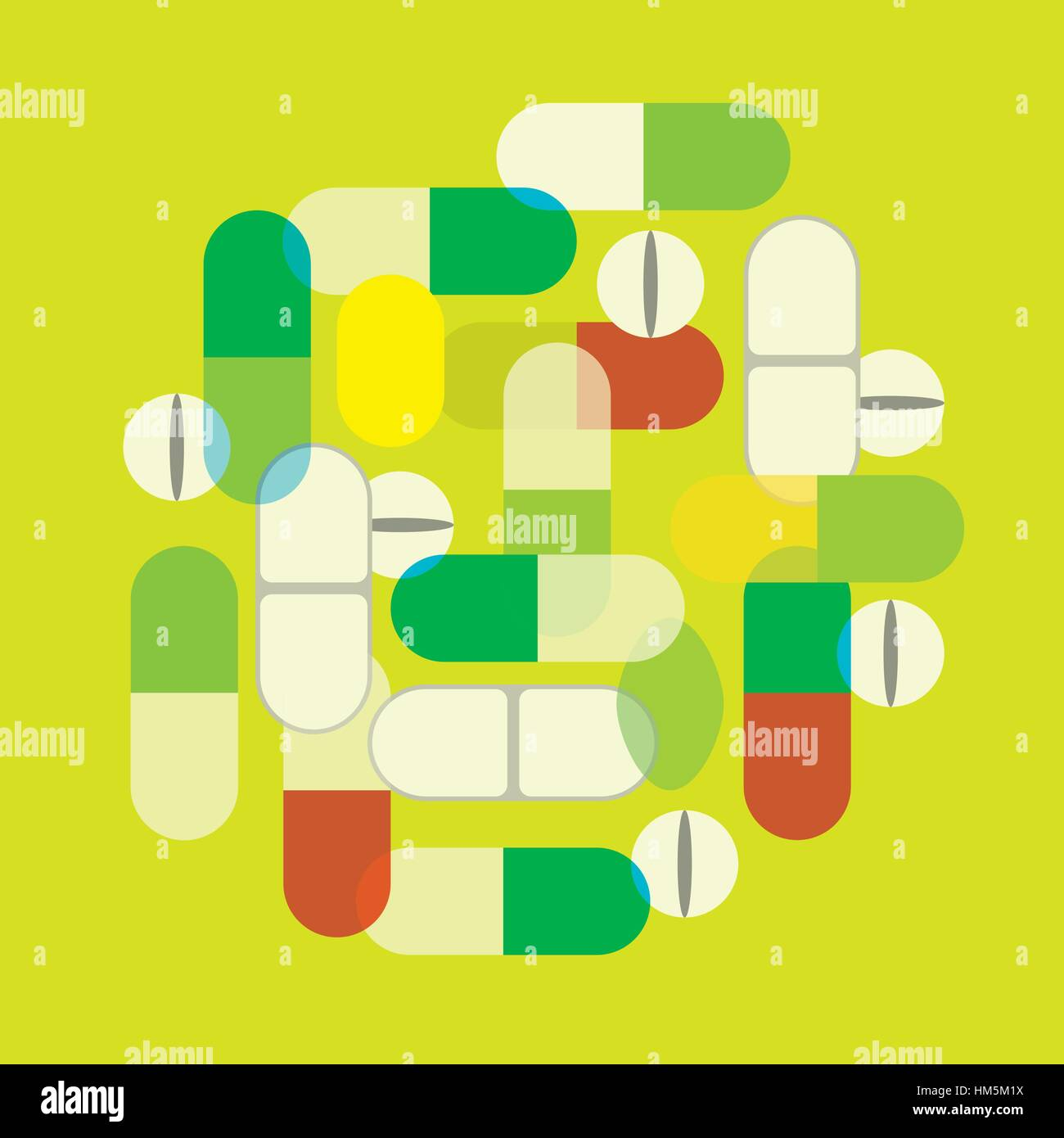 A graphic illustration image of different tablets, capsules and caplets. - Stock Image