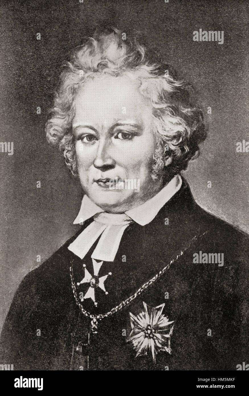 Esaias Tegnér, 1782 – 1846.  Swedish writer, professor of Greek language, and bishop. - Stock Image