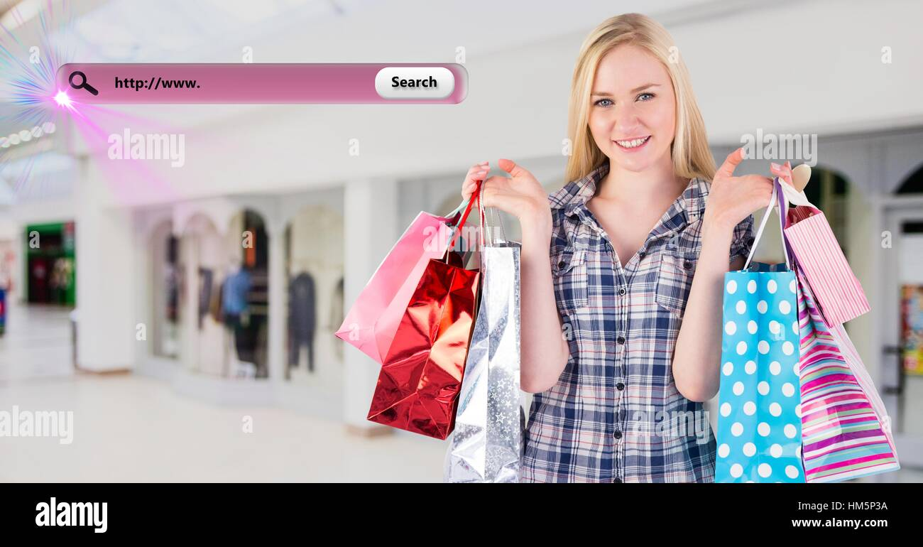 Digitally composite image of woman holding shopping bag and a search bar - Stock Image