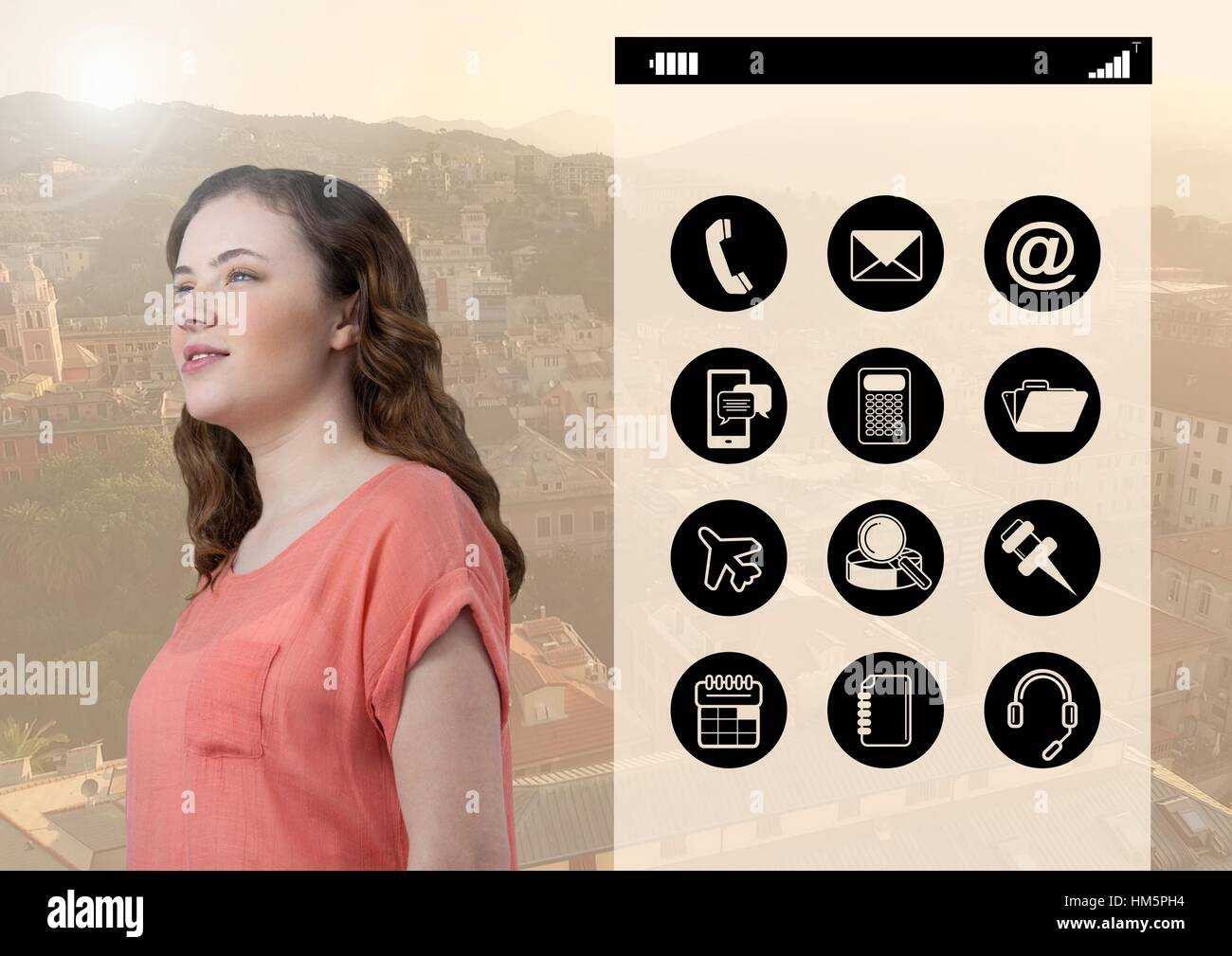 Woman with digitally generated mobile applications - Stock Image