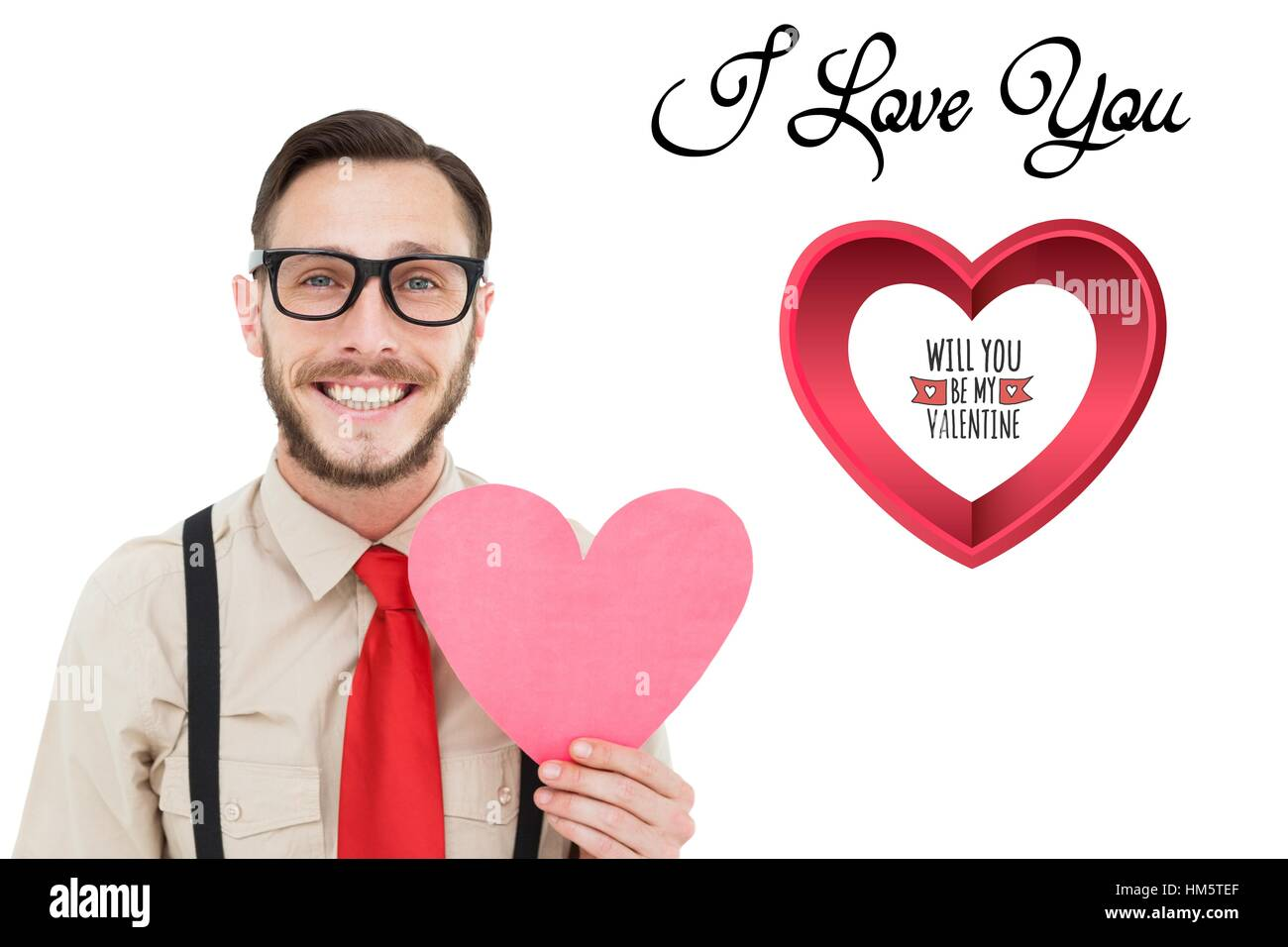 Nerd man holding pink heart with I love u message - Stock Image