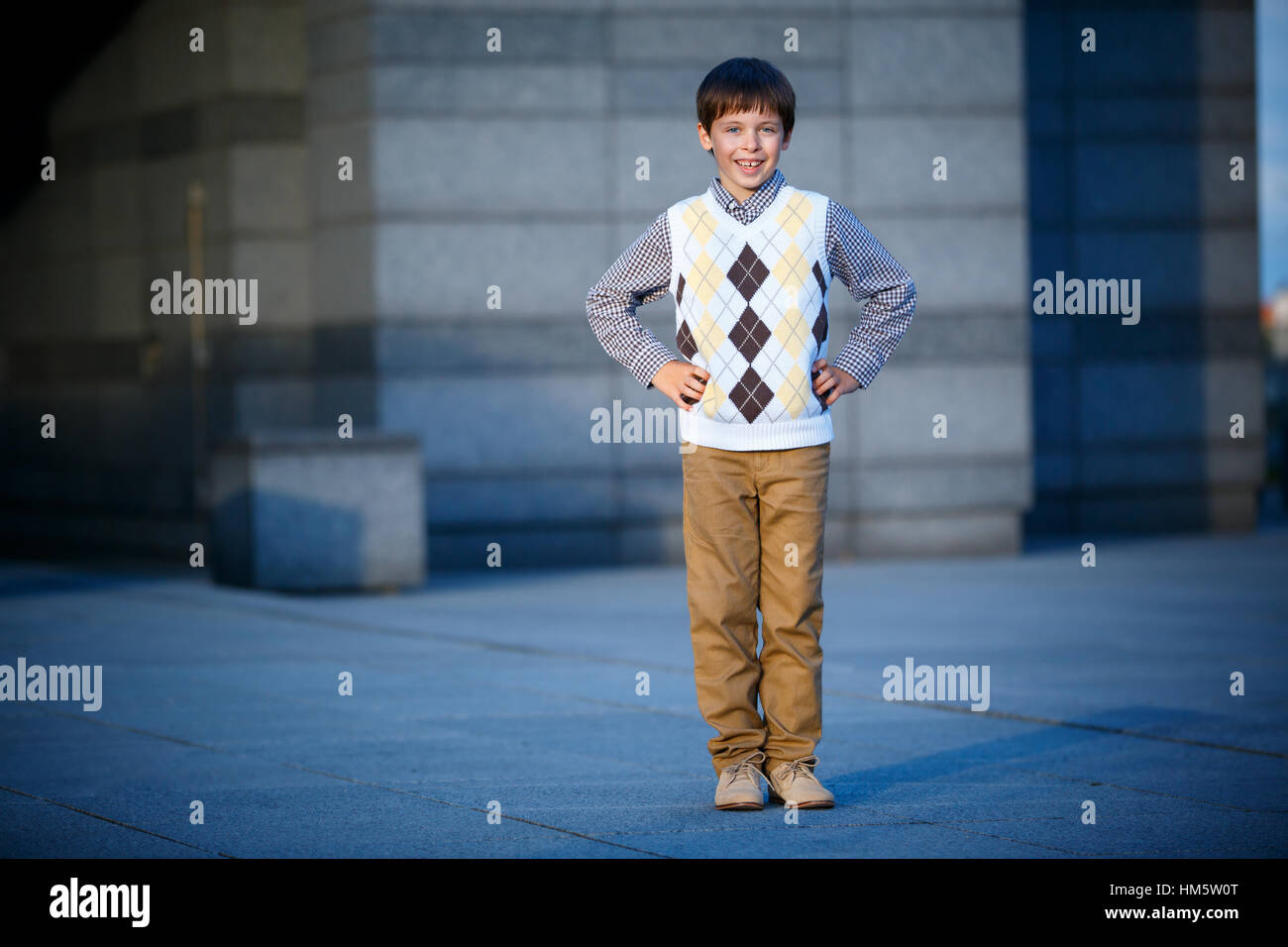 Stylish little boy in fashionable clothes - Stock Image