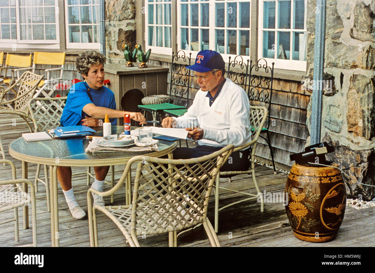 United States President George H W Bush Works With His Personal