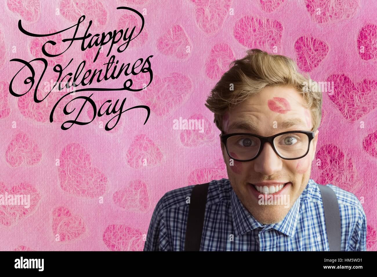 Happy nerd man with lipstick mark and valentines day text - Stock Image
