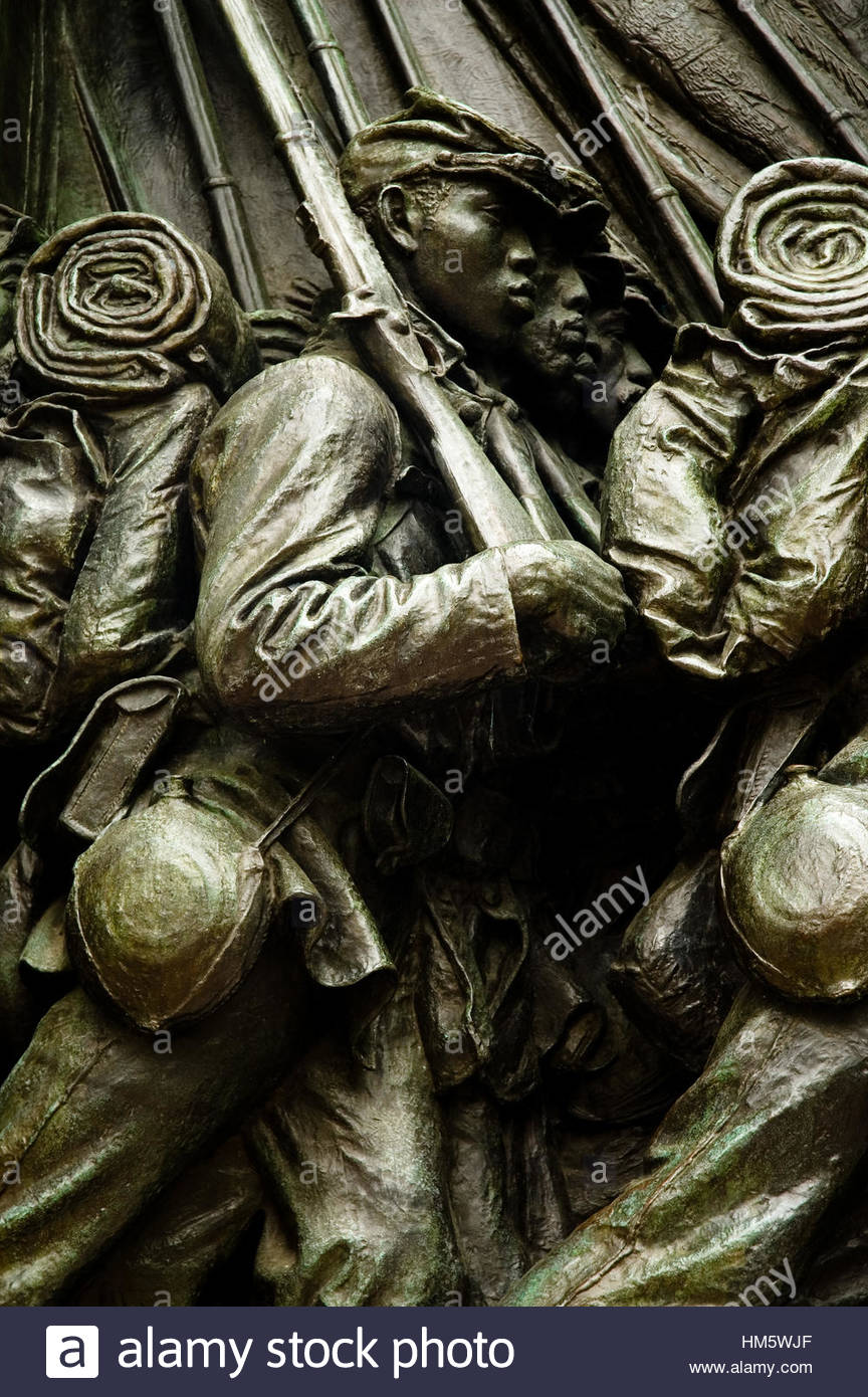Detail, Robert Gould Shaw and the 54th Regiment, Boston, Massachusetts - Stock Image