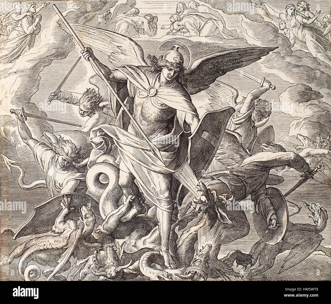 Archangel Michael fighting with dragon, engraving of Nazareene School, published in The Holy Bible, St.Vojtech Publishing, - Stock Image