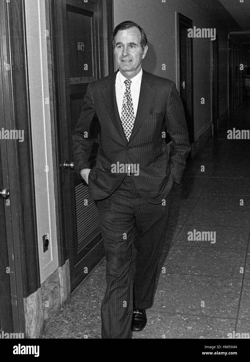 United States Ambassador to China George H.W. Bush walks through the hall en route to his confirmation hearing to - Stock Image