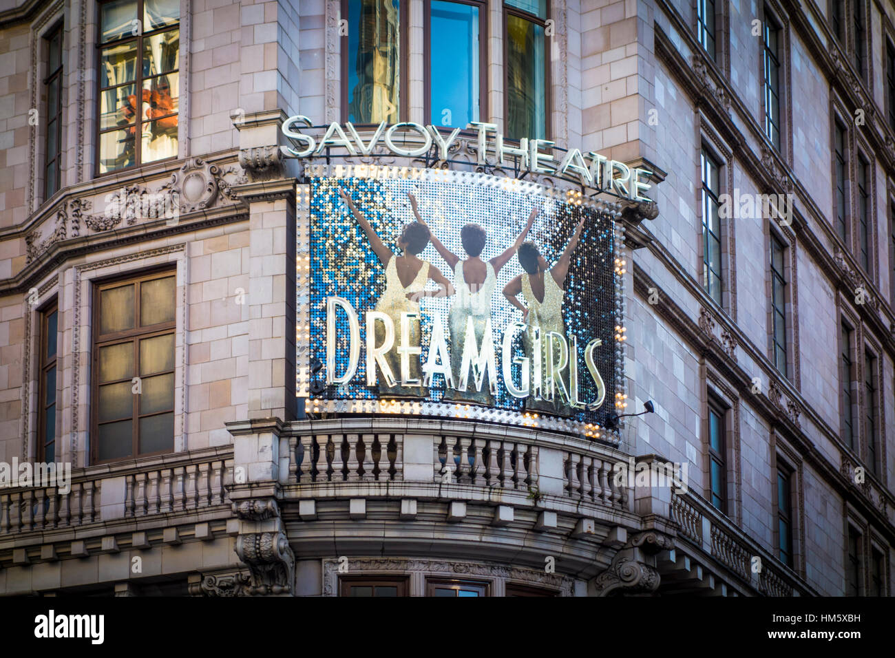 Dreamgirls sign outside the Savoy Theatre London UK - Stock Image & Savoy Theatre London Stock Photos u0026 Savoy Theatre London Stock ...