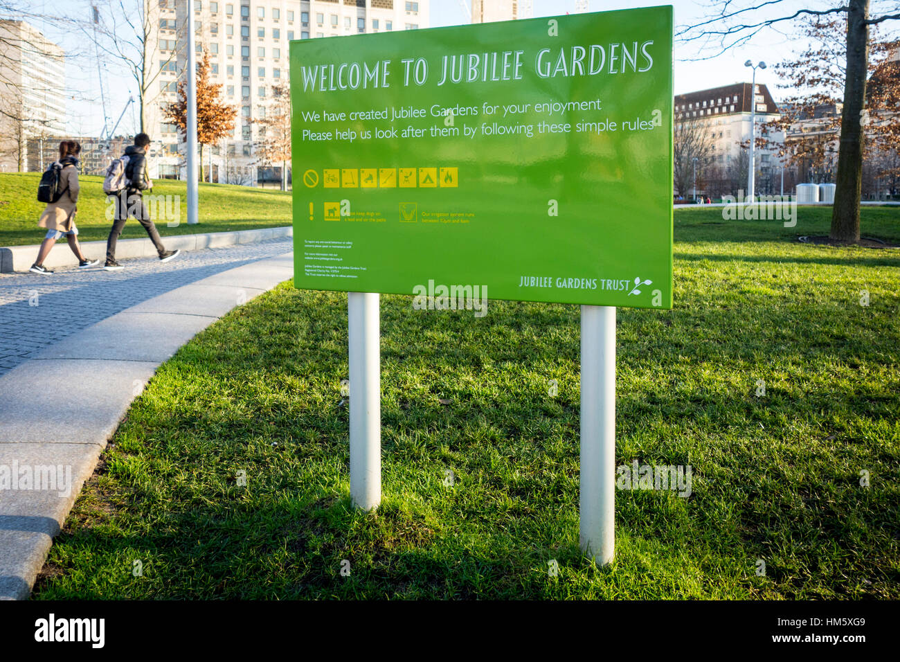 Sign at the Jubilee Gardens, Southbank, London, UK - Stock Image