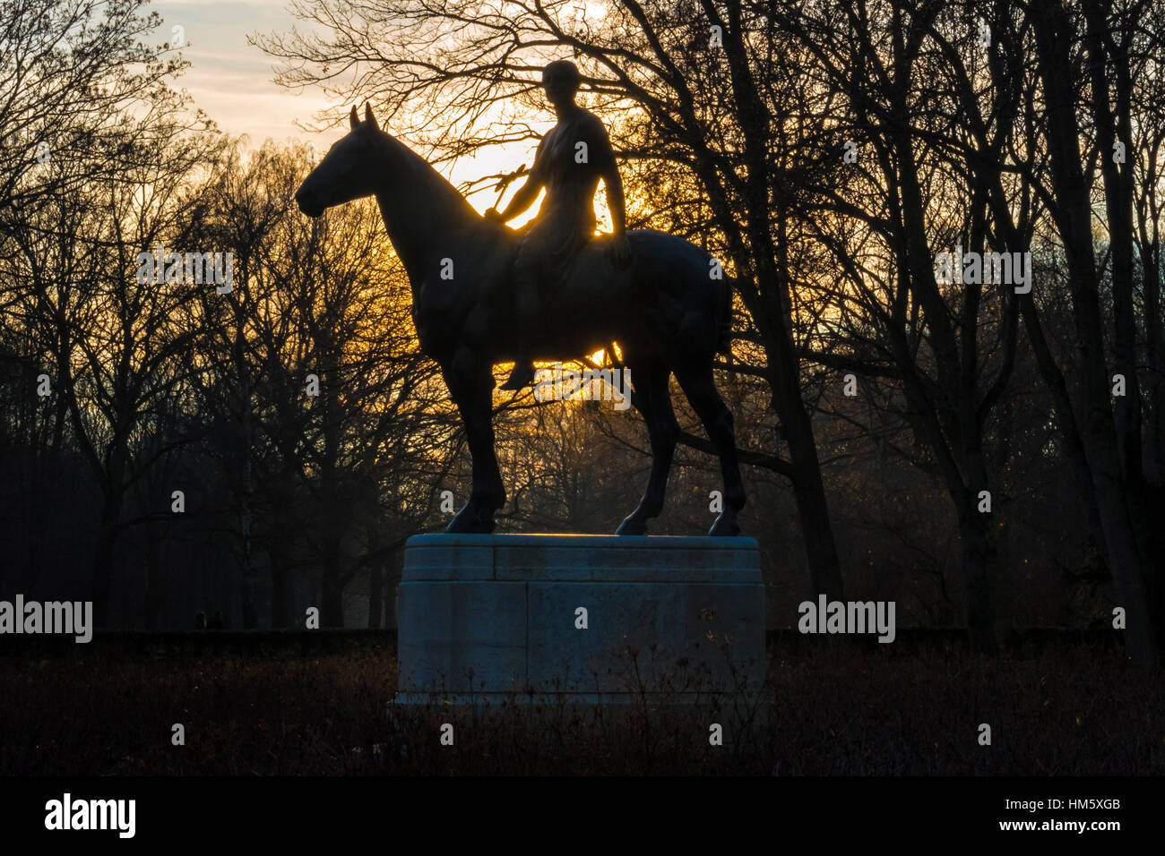 Statue of a woman riding a horse in the Tiergarten in Berlin - Stock Image
