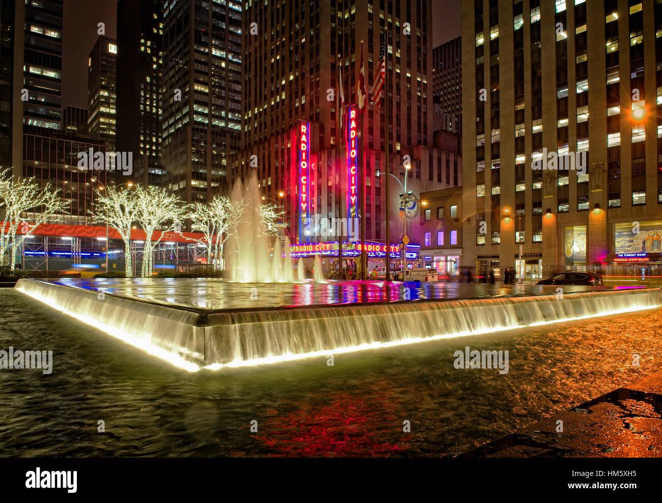 Radio City Music Hall at night - Stock Image