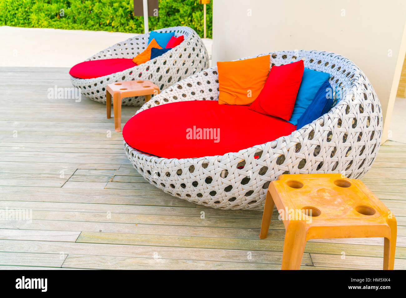 Relaxing seats at Swimming pool - Stock Image