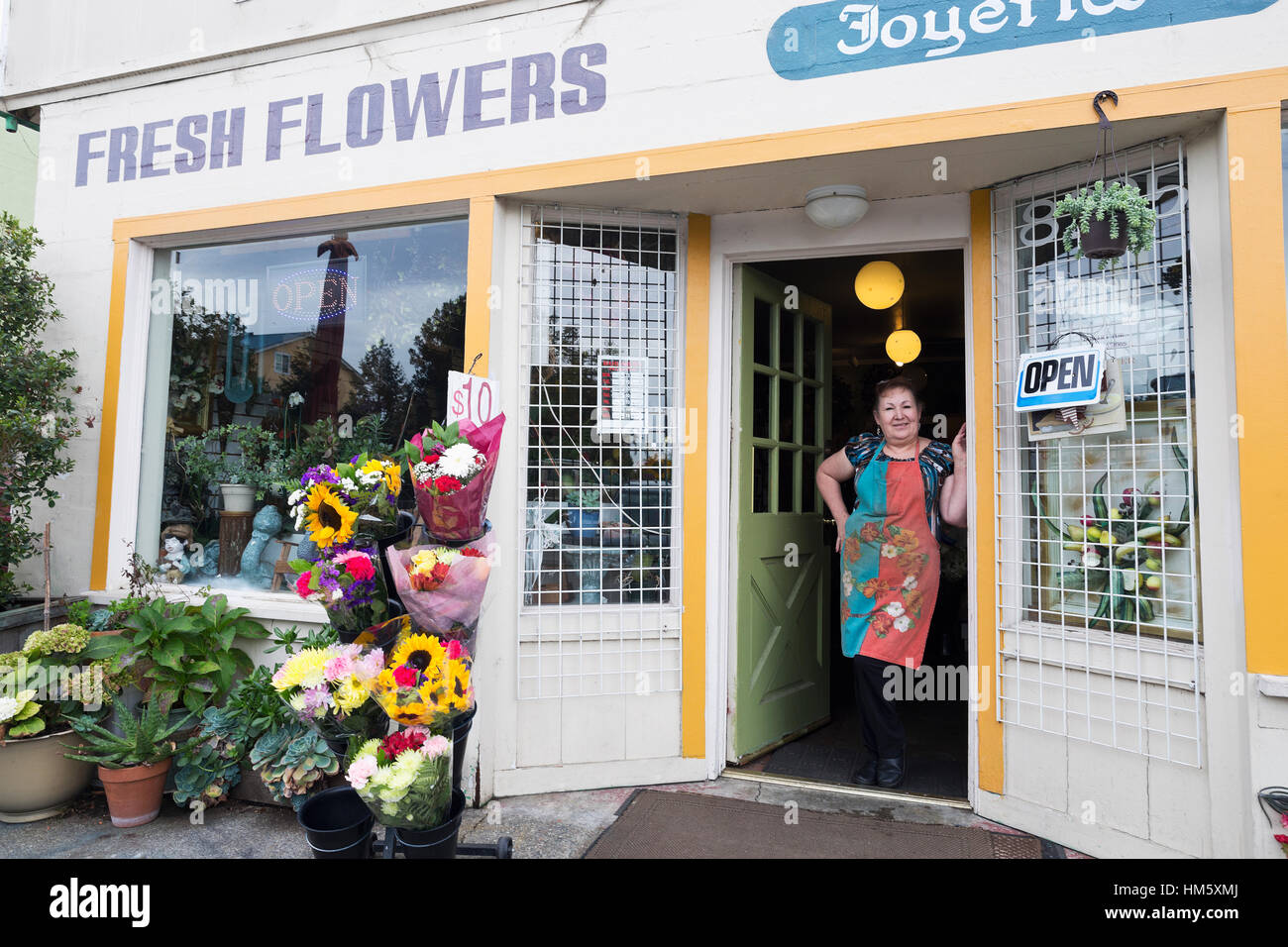 Portrait of female florist standing in doorway of flower shop - Stock Image
