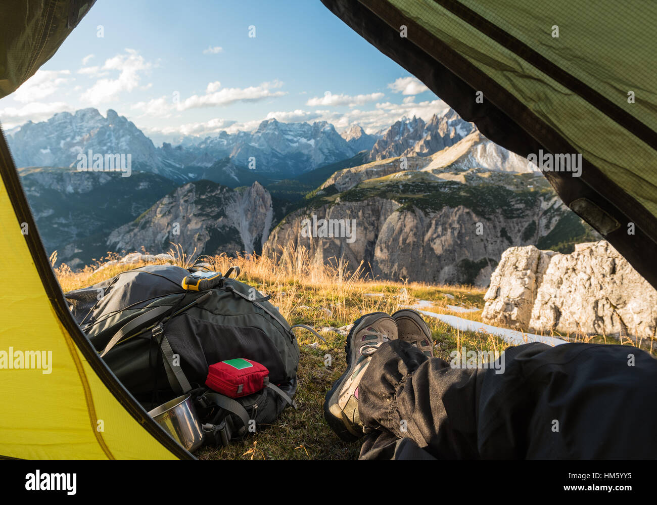 view from touristic tent to mountain valley, Dolomites, Italy - Stock Image