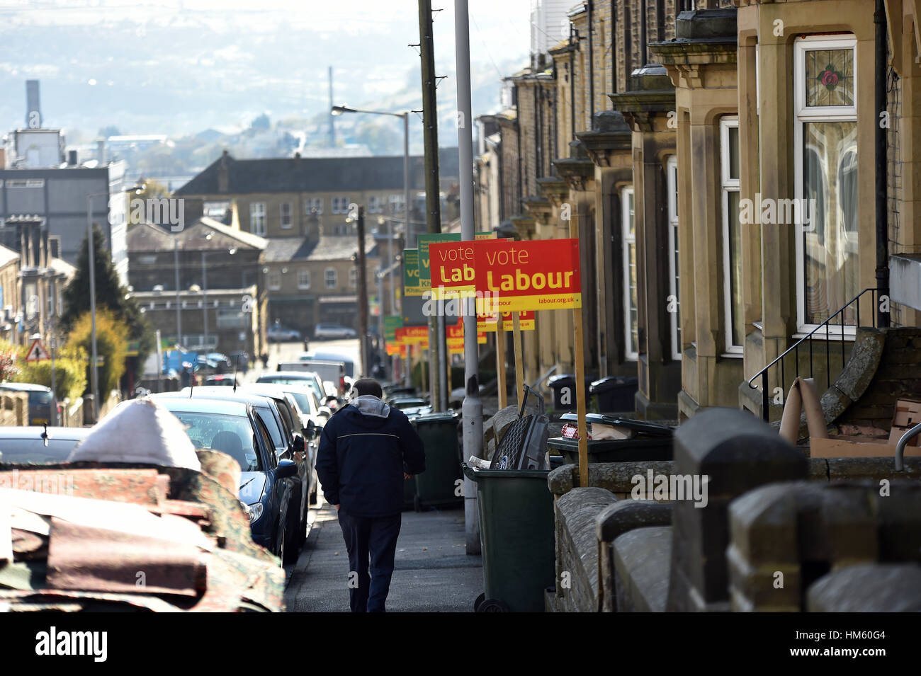 Election signs displayed in Keighley, West Yorkshire - Stock Image