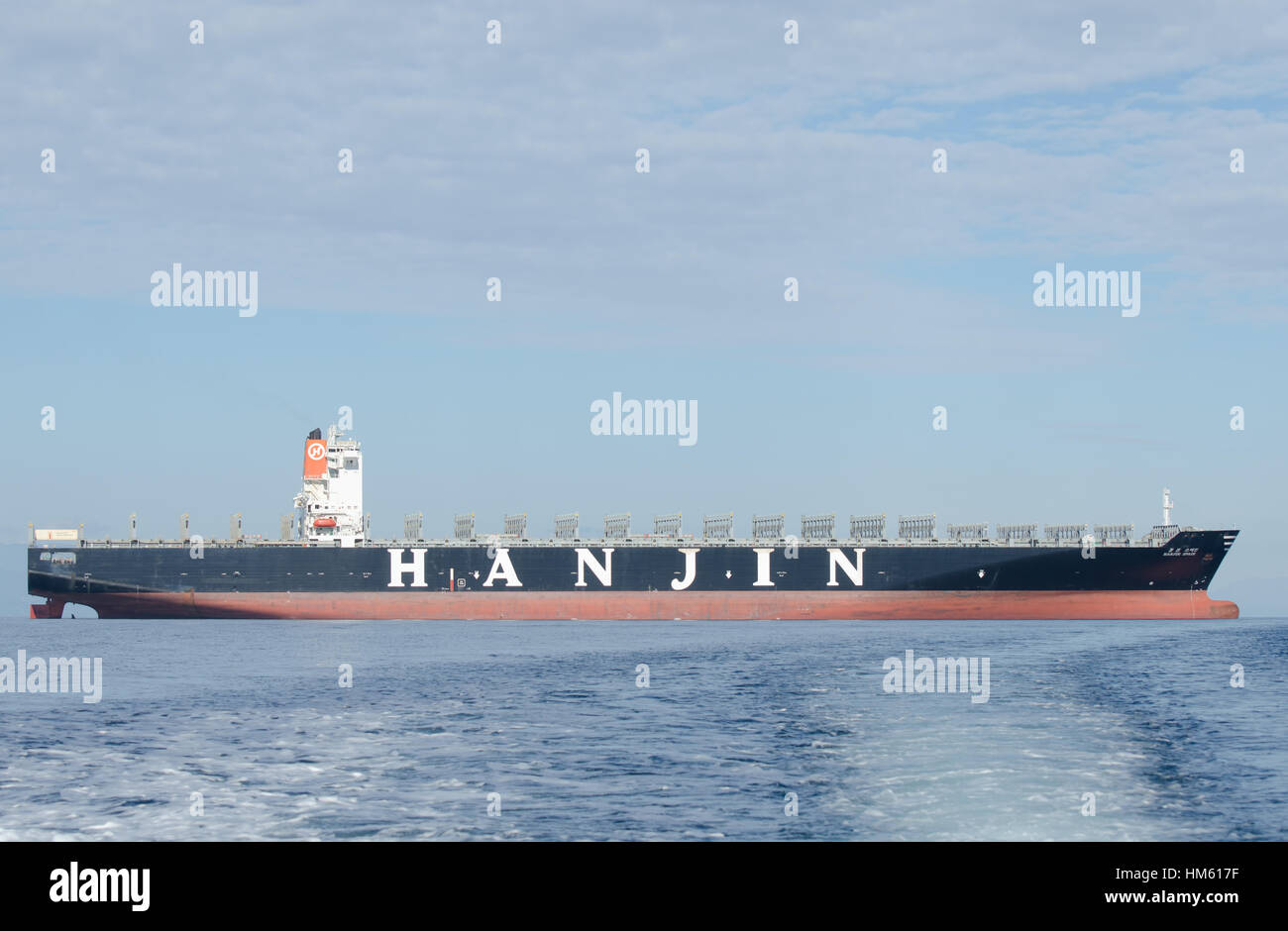 An empty Hanjin container ship moored in the waters East of Gibraltar probably waiting to be sold after the company - Stock Image
