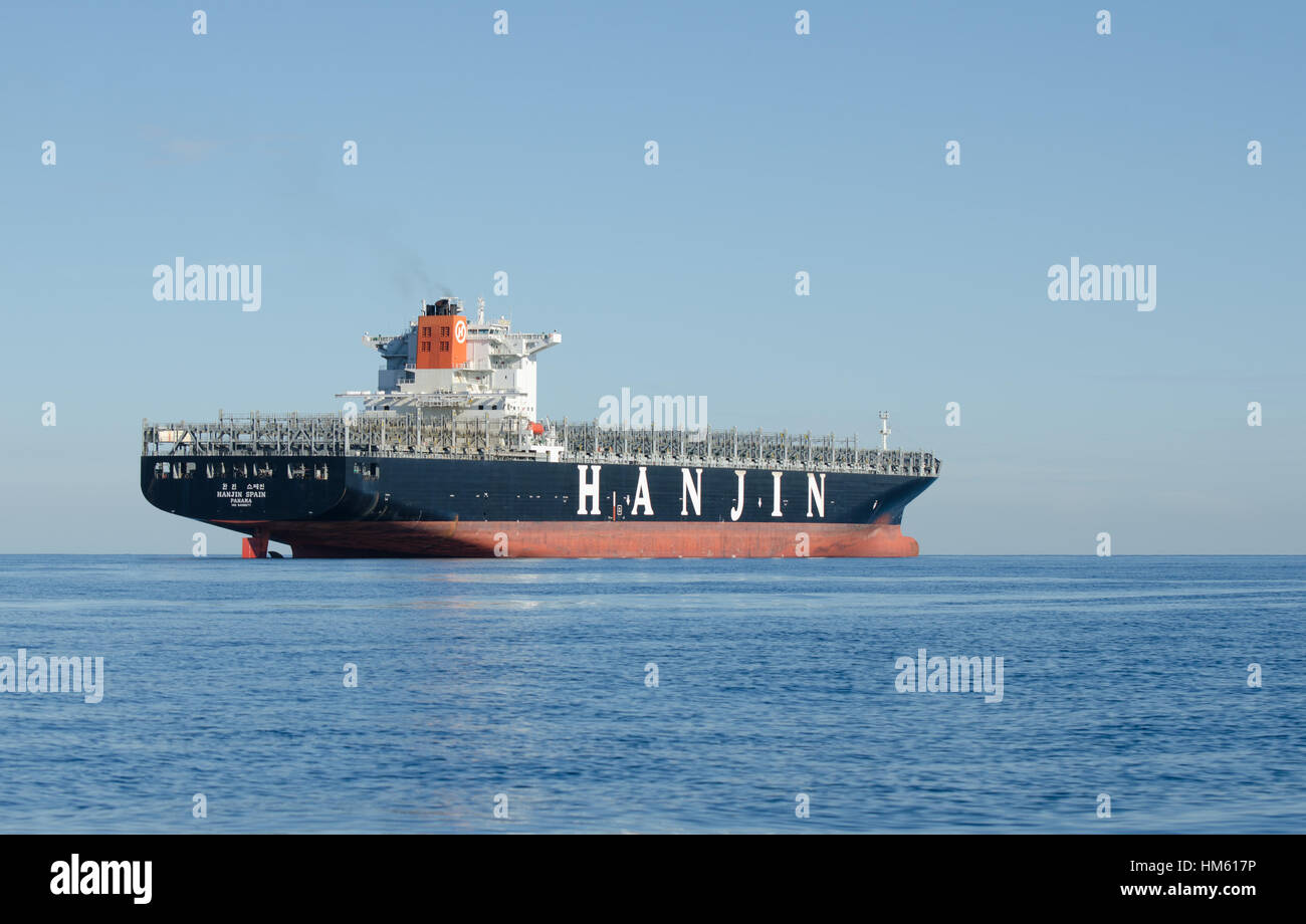 An empty Hanjin container ship moored in the waters East of Gibraltar probably waiting to be sold after the company Stock Photo