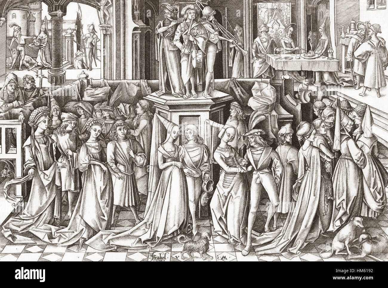 The Feast of Salome, after a 15th or 16th century print engraved by German printmaker and goldsmith Israhel van - Stock Image