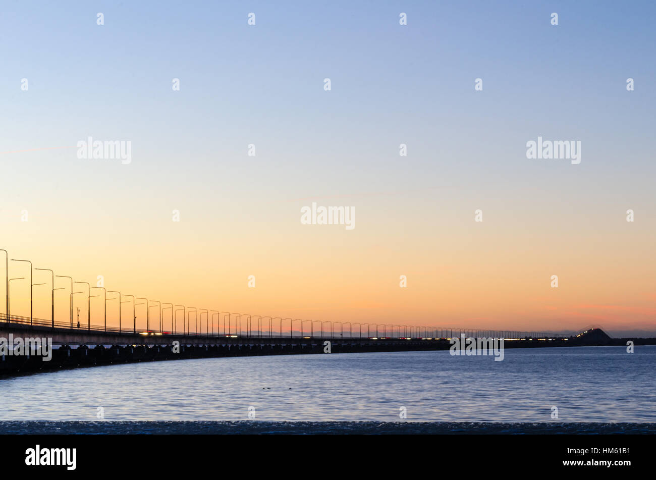 Twilight by the Oland Bridge, connecting the island Oland with mainland Sweden Stock Photo