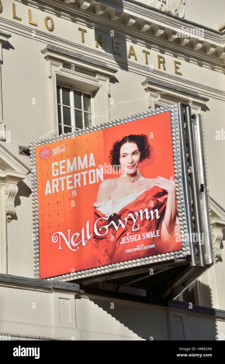 Billboard promoting the West End play Nell Gwynn outside the Apollo Theatre in Shaftesbury Avenue, London, UK - Stock Image