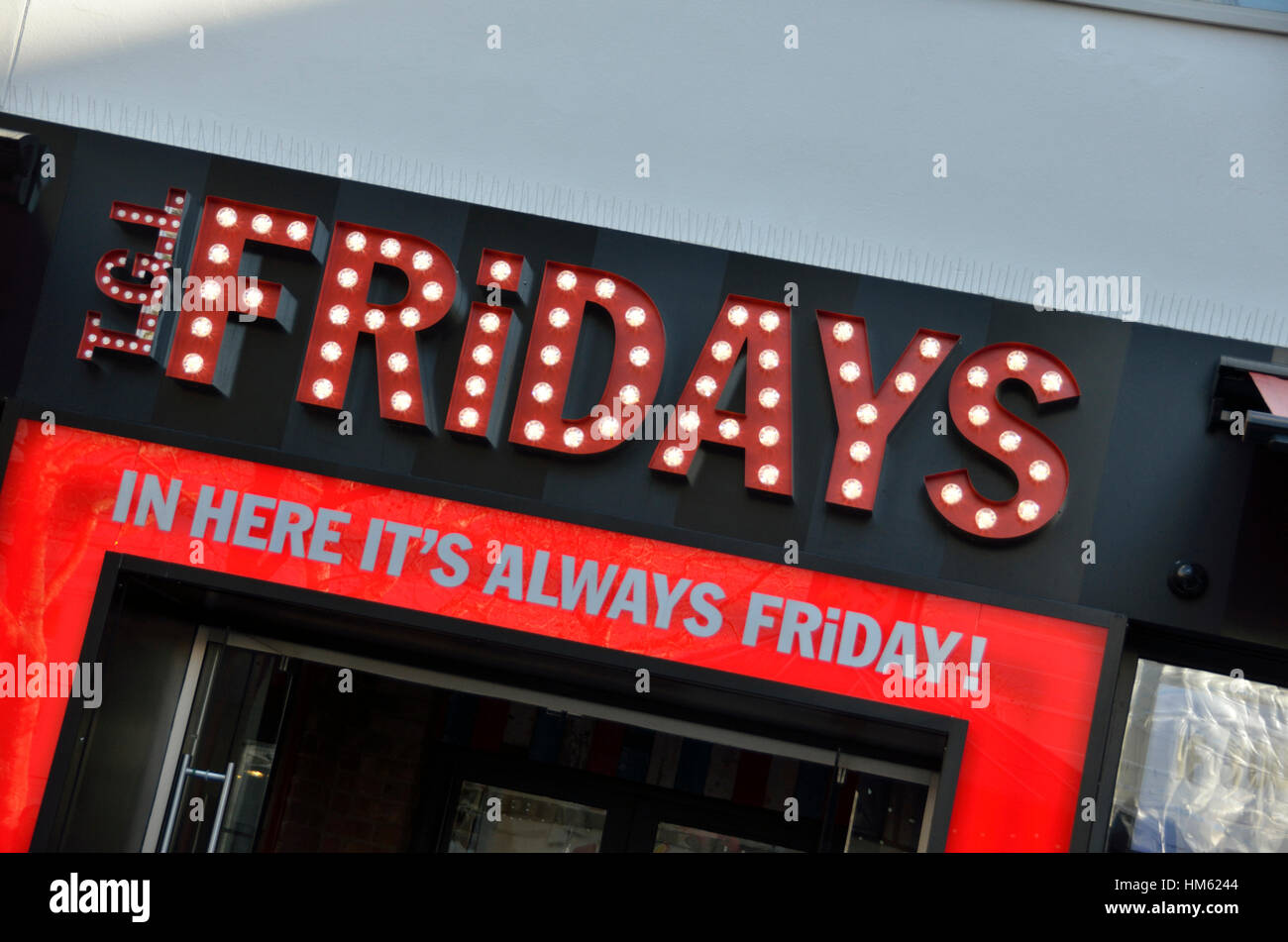 TGL Fridays restaurant and bar in Leicester Square, London, UK - Stock Image