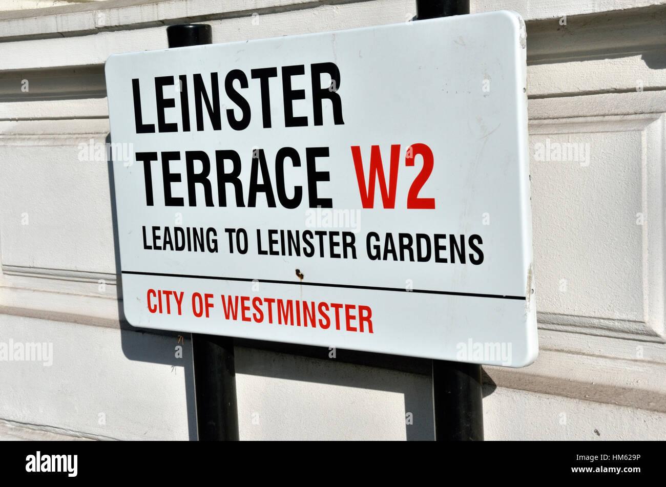 Leinster Terrace W2 street sign, London, UK - Stock Image