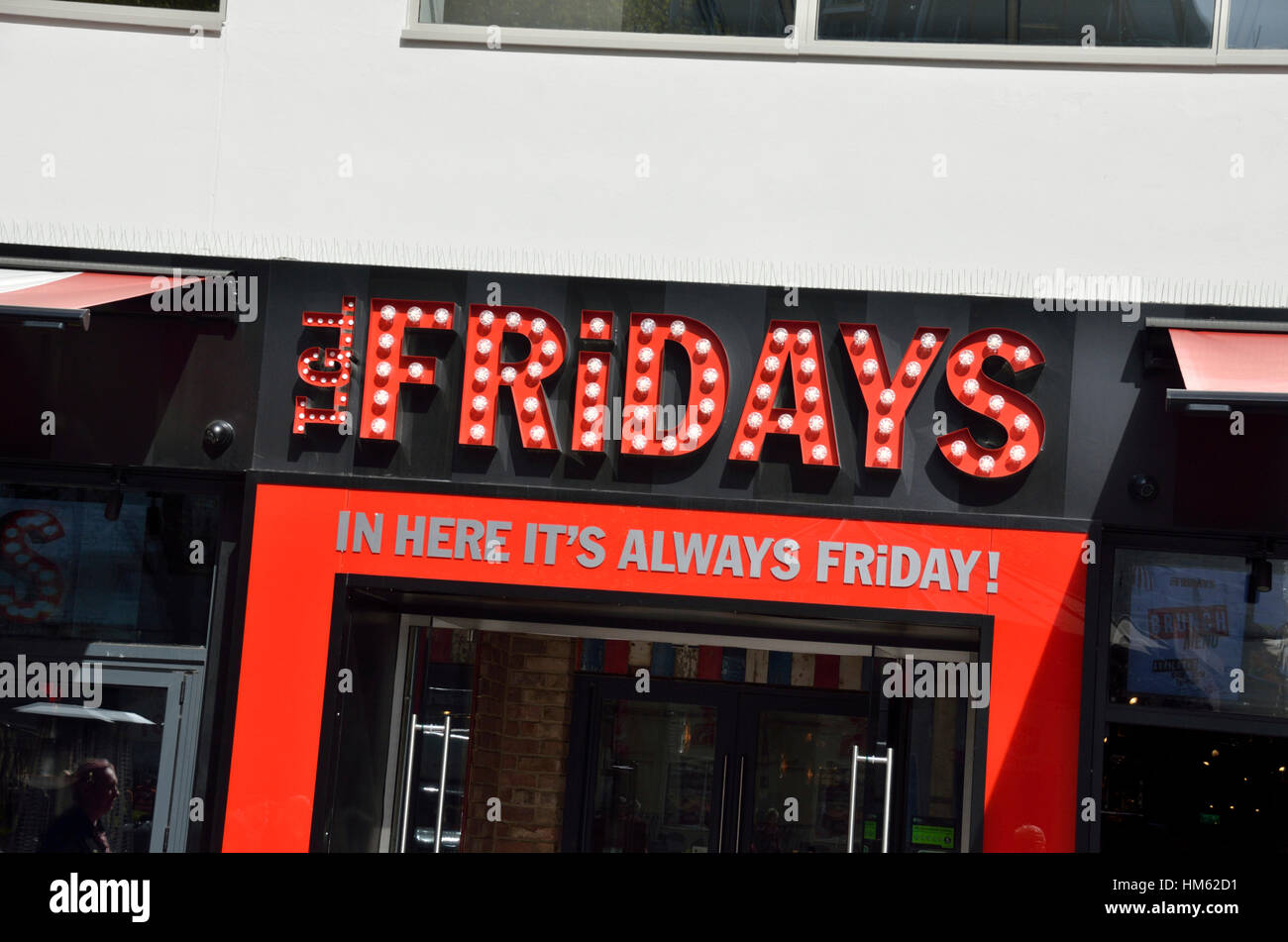 TGI Fridays restaurant and bar in Leicester Square, London, UK - Stock Image