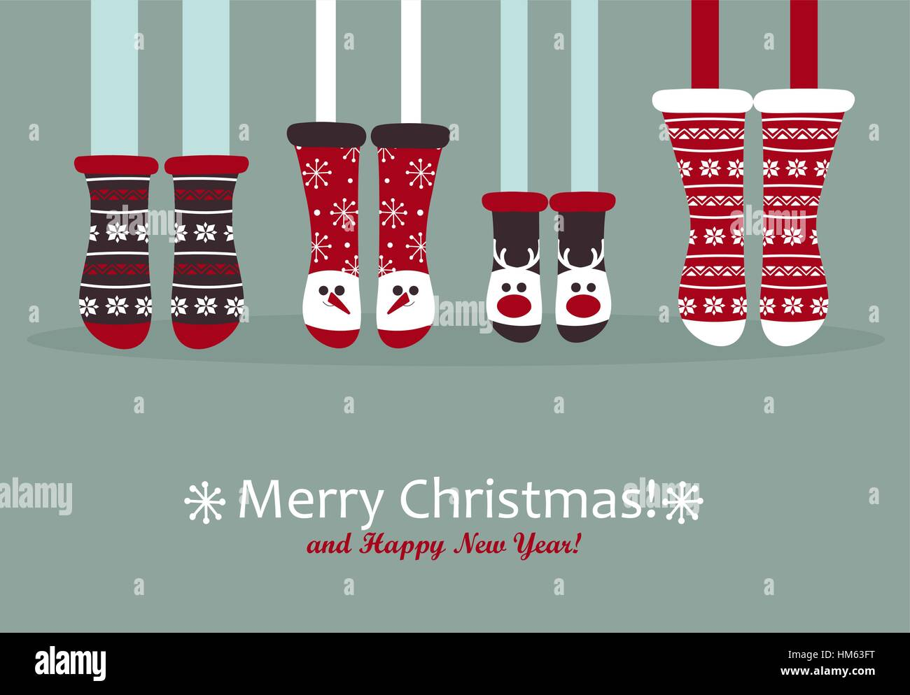 Family Feet In Christmas Socks Winter Holiday Concept Happy New
