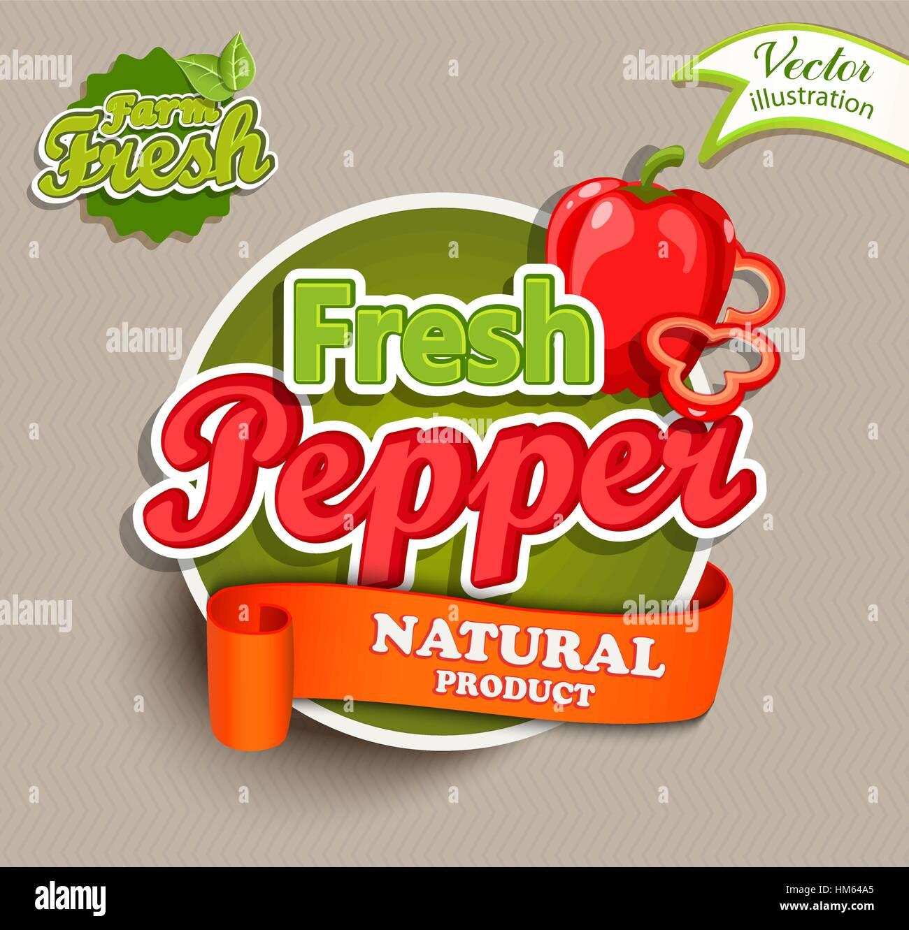 Farm fresh, organic food label - fresh pepper lettering, vector illustration. Concept for farmers market, natural - Stock Vector