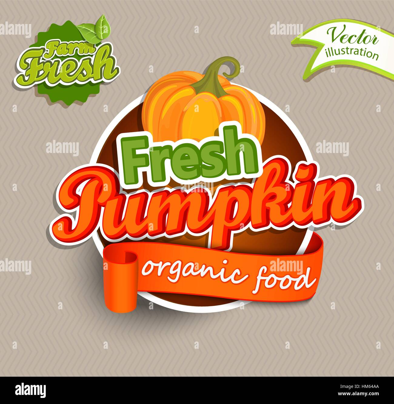 Fresh Pumkin logo lettering typography food label or sticker. Concept for farmers market, organic food, natural - Stock Vector