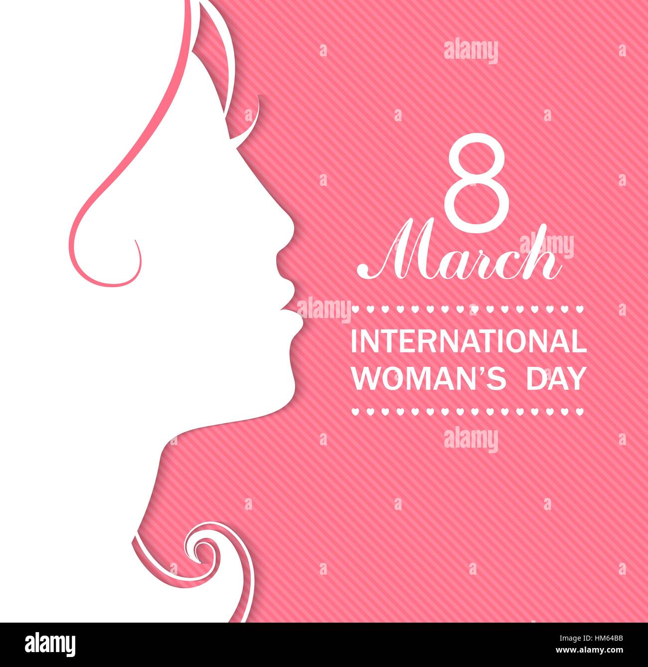Happy Women's Day celebrations concept with a girl face on pink background. Vector illustration. - Stock Vector