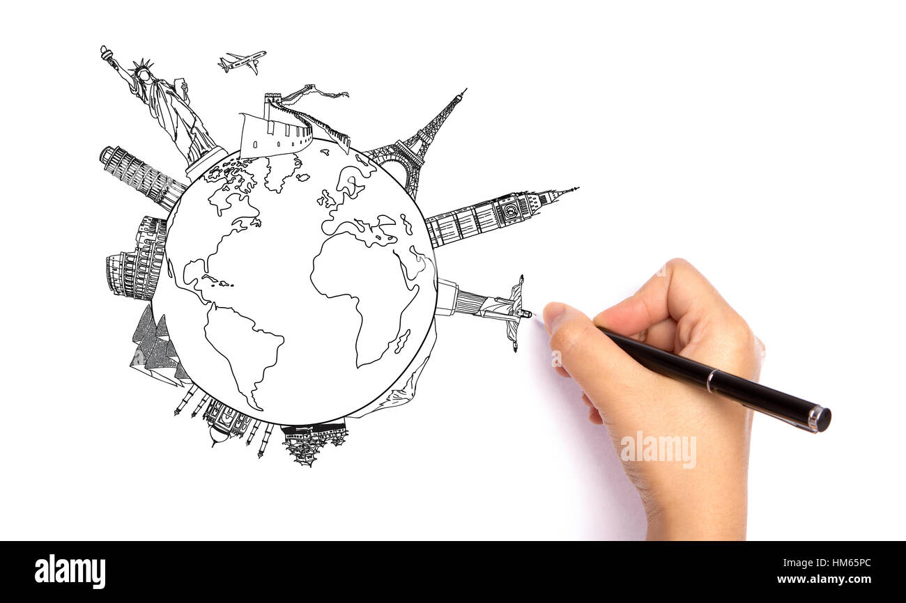Drawing travel around the world (Japan,France,Italy ,New York,India,egypt,ch ina,london,brazil) - Stock Image