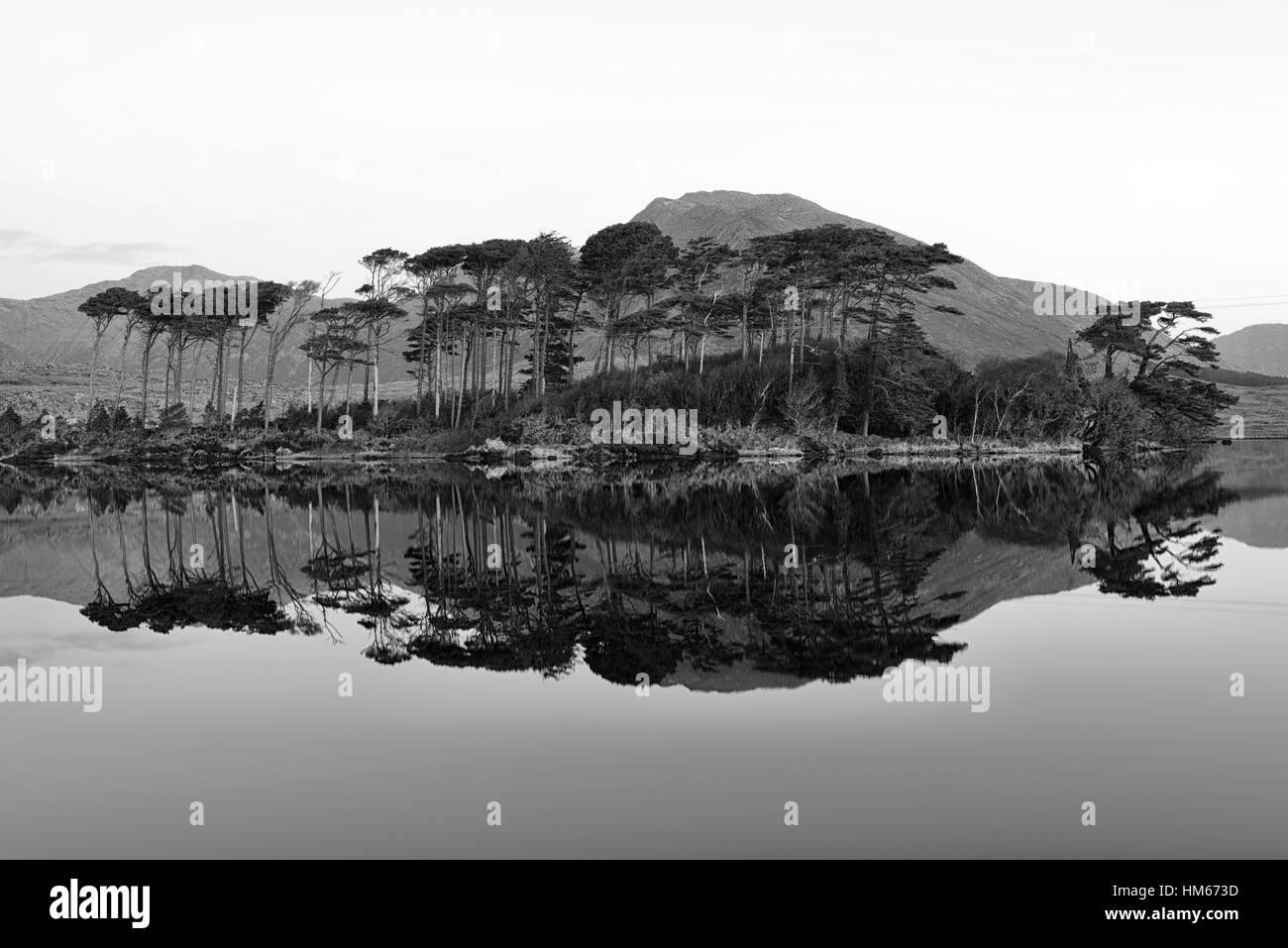 Derryclare Lough lake Connemara Pine Island mountains wild atlantic way West of Ireland mirror reflection reflect - Stock Image