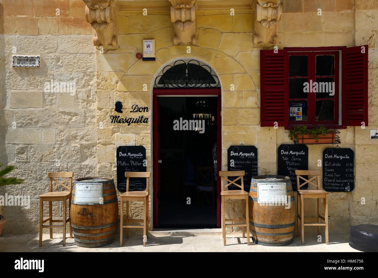 Don mesquita restaurant cafe bar business entrance traditional old style shopfront streets Valletta Malta - Stock Image