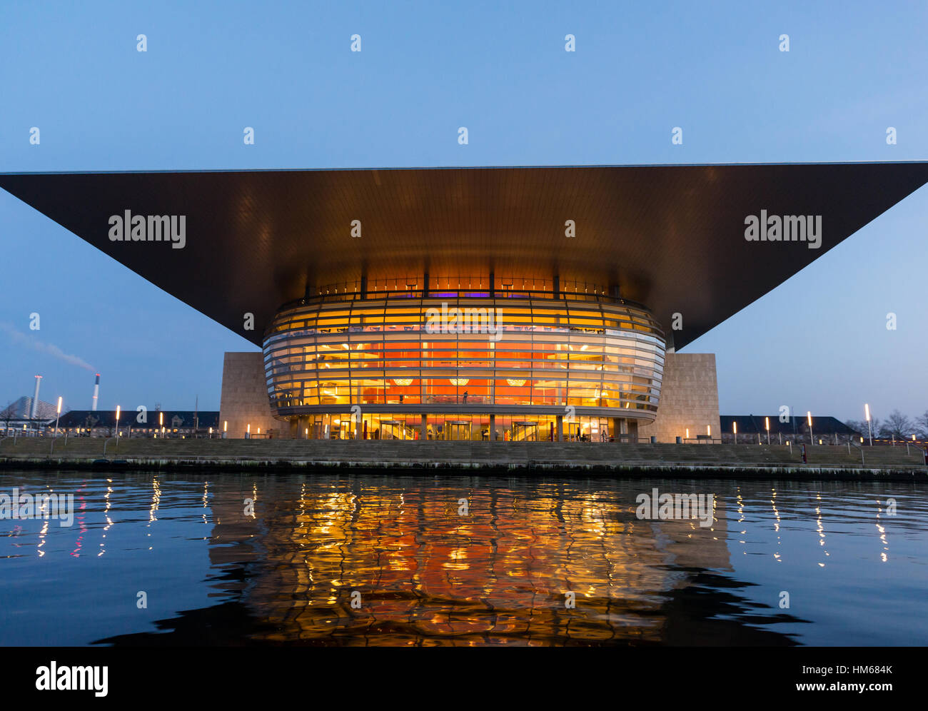 The Opera House at night, Copenhagen, Denmark - Stock Image