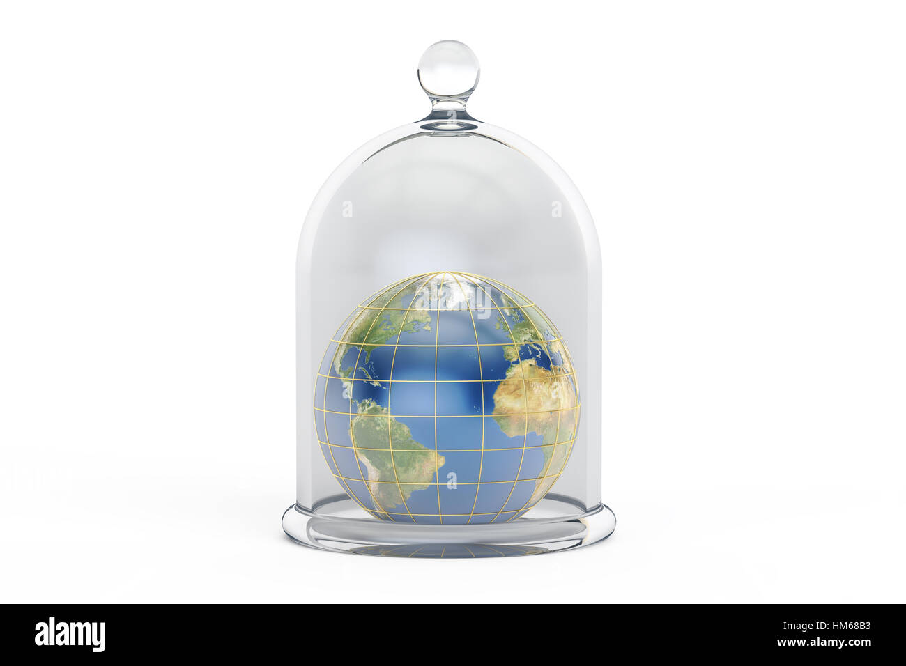 Earth covered by glass bell. Conservation and protection concept, 3D rendering isolated on white background - Stock Image