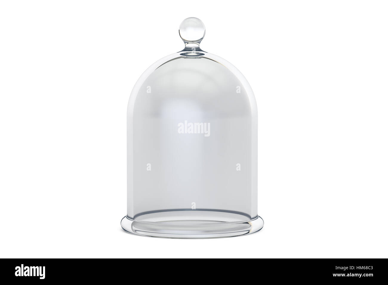 Glass Bell or Bell Jar, 3D rendering isolated on white background - Stock Image